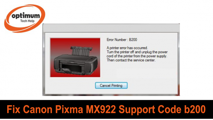 Canon MX922 Support Code b200