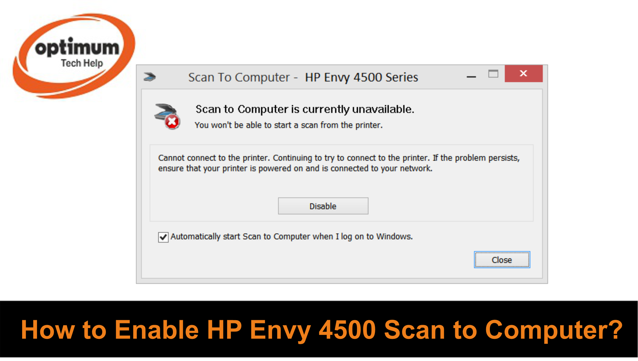 HP Envy 4500 Scan to computer