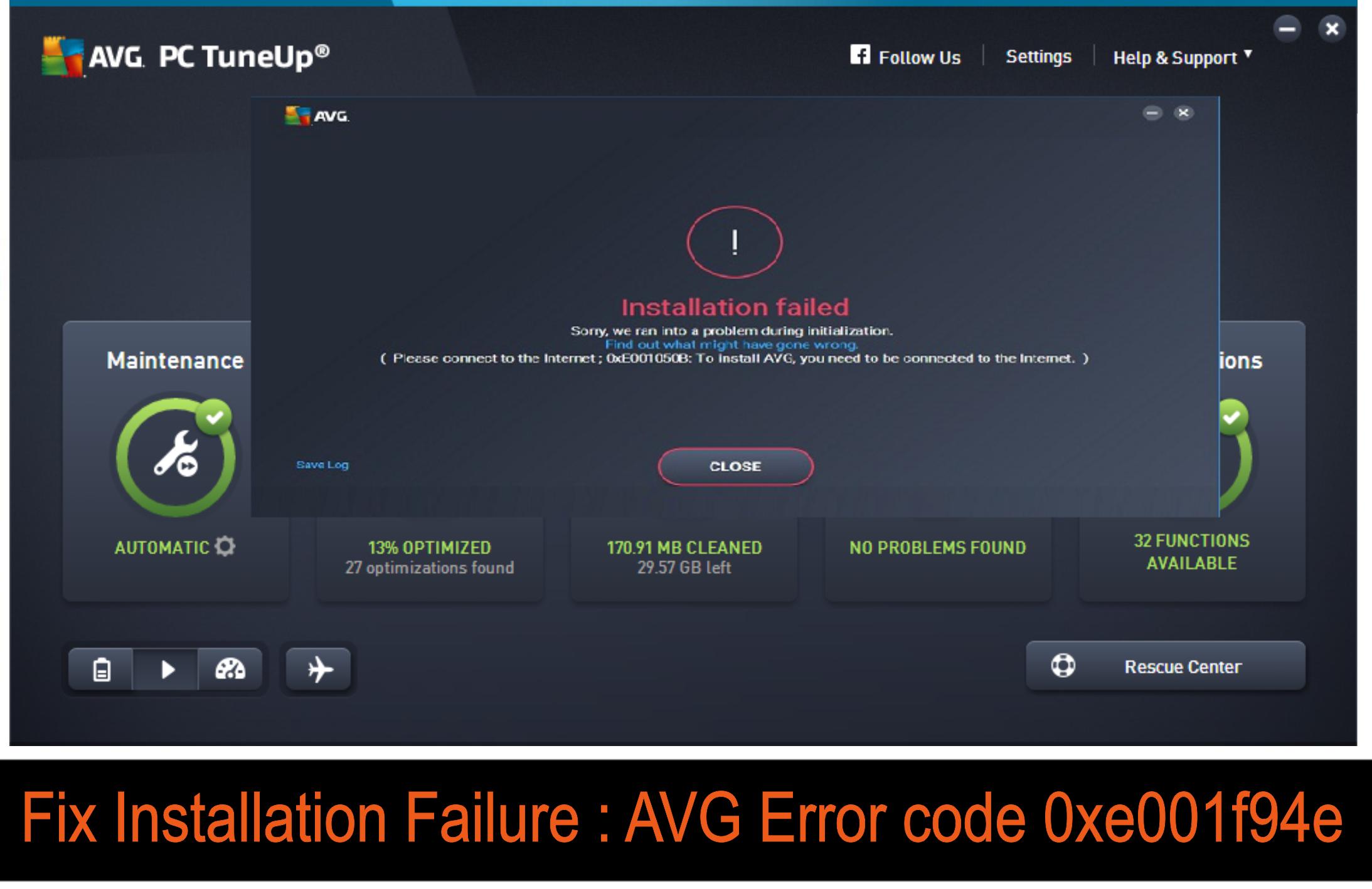 avg error code 0xe001f94e